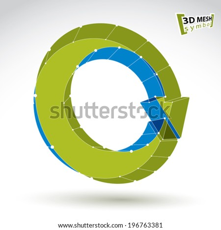3d mesh stylish web update sign isolated on white background, colorful eco lattice renew icon, green dimensional tech refresh symbol, bright clear eps 8 vector illustration. - stock vector