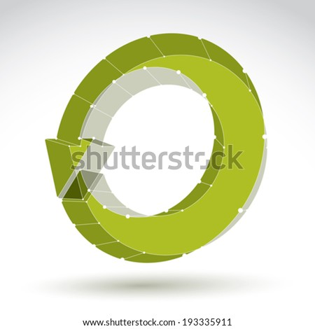 3d mesh stylish web update symbol isolated on white background, eco lattice renew icon, dimensional tech refresh sign, bright clear eps 8 vector illustration. - stock vector
