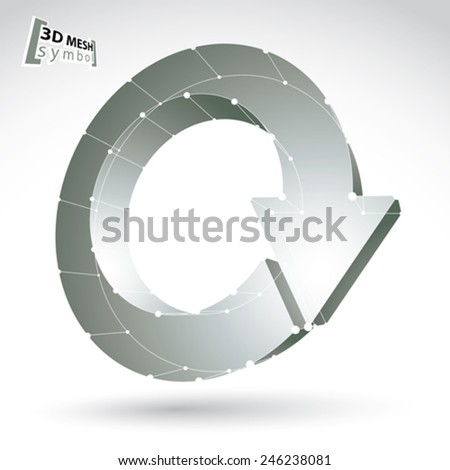 3d mesh update sign isolated on white background, lattice black and white renew icon, monochrome dimensional tech refresh symbol with white connected lines, clear eps 8 vector illustration. - stock vector
