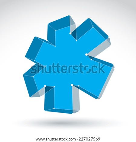3d mesh web blue ambulance icon isolated on white background, colorful lattice medicine symbol, dimensional tech emergency object, clear eps 8 vector illustration, bright perspective medical cross. - stock vector