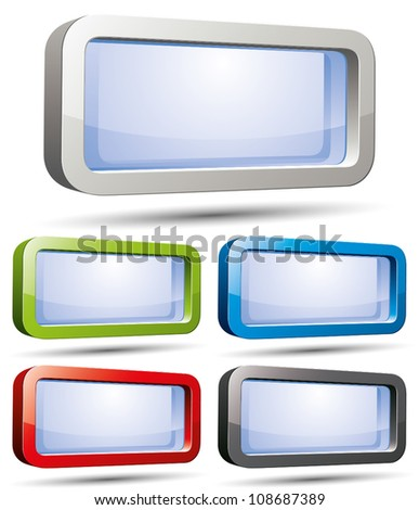 3d message banner, vector illustration, color variants set.