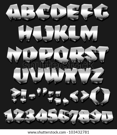 3D, Metal full english alphabet - stock vector