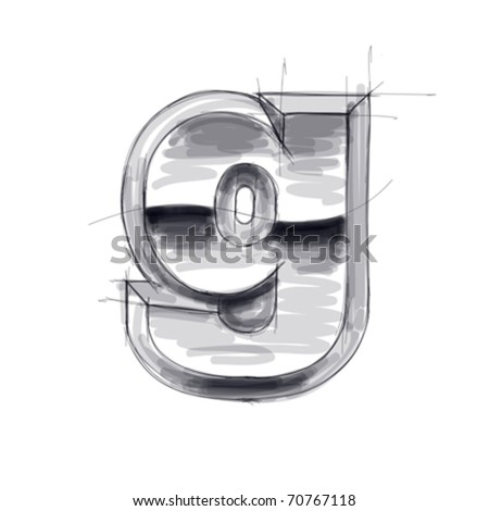 3d metal letters sketch - g. Eps10 - stock vector