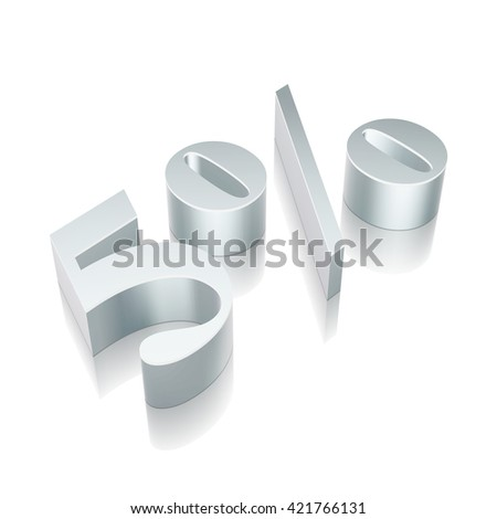 3d metallic character 5% with reflection on White background, EPS 10 vector illustration. - stock vector