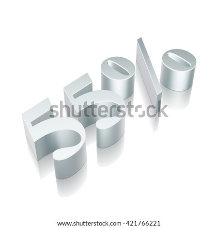 3d metallic character 55% with reflection on White background, EPS 10 vector illustration. - stock vector