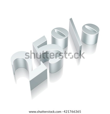 3d metallic character 25% with reflection on White background, EPS 10 vector illustration. - stock vector