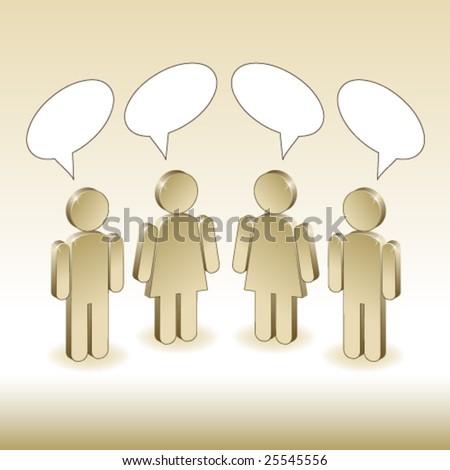 3d metallic characters discussing - stock vector