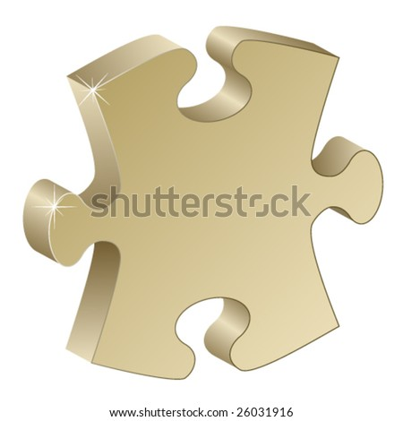 3d metallic puzzle piece - stock vector