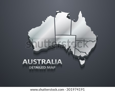 3D Metallic Silver Australia Map (EPS10 Vector) - stock vector