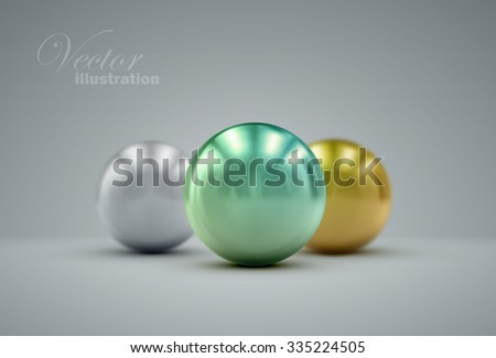 3D metallic sphere with reflections or pearls. Vector realistic illustration with colorful pearls - stock vector