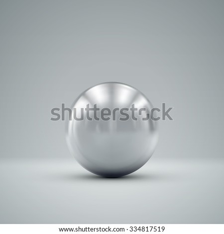 3D metallic sphere with reflections. Vector realistic illustration with silver core - stock vector