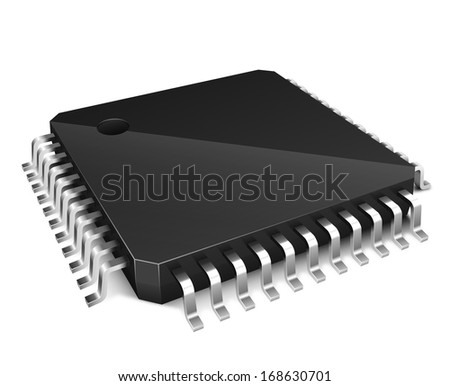 3D microchip isolated on white background - stock vector
