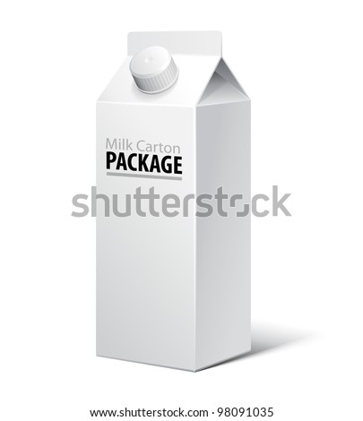 3D Milk Carton Packages Blank White With Lid: EPS10 - stock vector