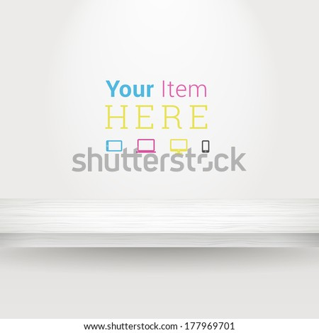 3d minimal empty shelf vector  illustration in white color with CMYK computing icons for online exhibit, web page banner - stock vector