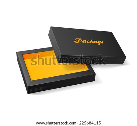 3D Modern Candy Open Box, Black And Orange Yellow: EPS10  - stock vector