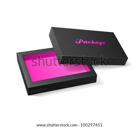 3D Modern Candy Open Box, Black And Pink: EPS10 - stock vector
