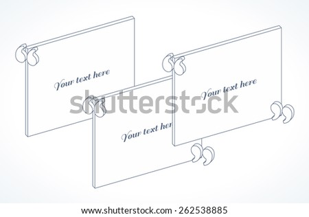 3d modern isometric quotation marks template. Linear flat illustration. Place for your text - stock vector