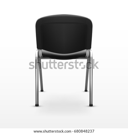 office chair back view. 3D Modern Office Chair Black Cloth. Back View. EPS10 Vector View