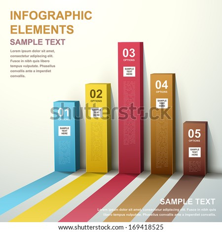 3d modern vector abstract bar chart infographic elements - stock vector