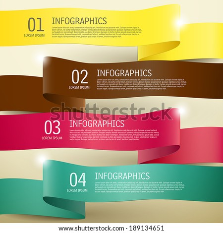 3d modern vector abstract ribbon infographic elements - stock vector