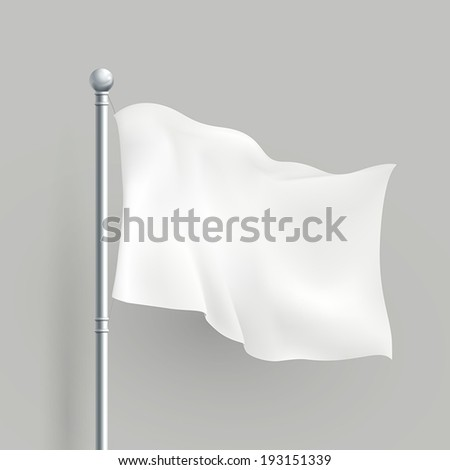 3d modern vector white flag blank template - stock vector