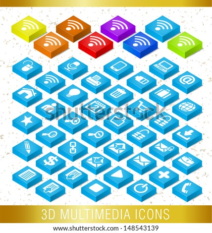 3D MULTIMEDIA ICONS / Set of icons  - stock vector