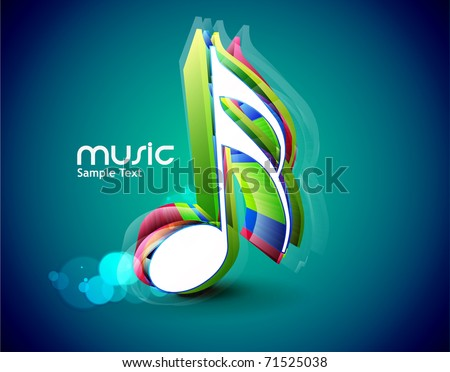 3d Music notes for design use, vector illustration - stock vector
