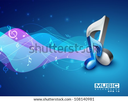 3D musical note on colorful wave background. EPS 10. - stock vector