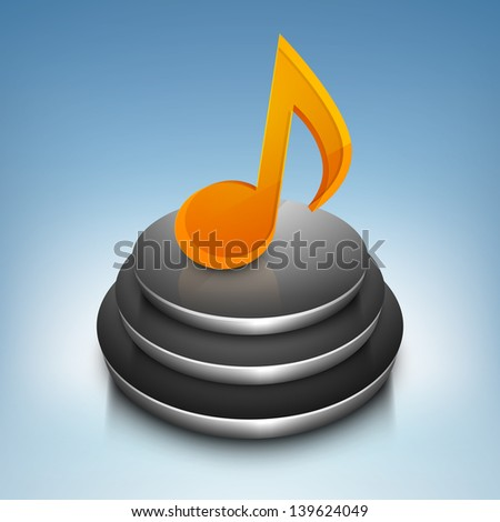 3D musical note on stage. - stock vector