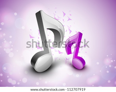 3D musical notes on shiny background. EPS 10. - stock vector