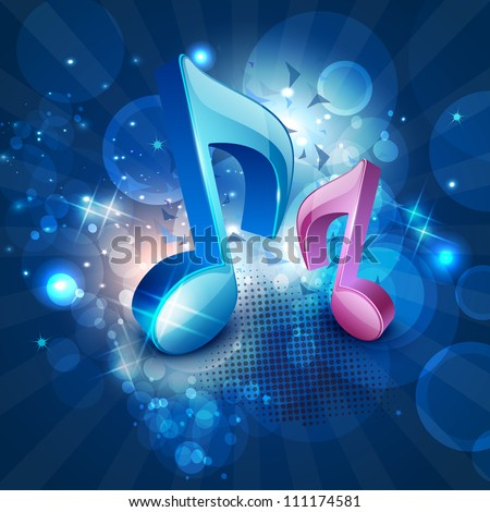 3D musical notes on shiny blue background. EPS 10. - stock vector