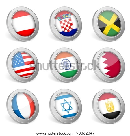 3D national flag icons on white background. Vector illustration.