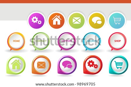 3D Navigation Icons - 3D pointers, paper icons and speech baubles with textual and graphic representation of some of the most popular web icons - stock vector