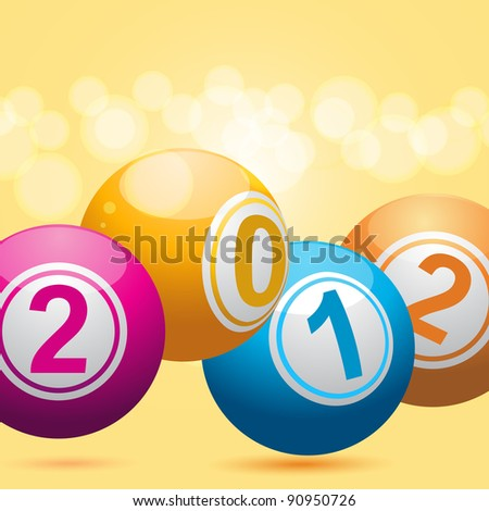 3D new year bingo balls on an orange background - stock vector