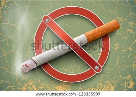 3D no smoking sign with a realistic cigarette on a vintage background - stock vector