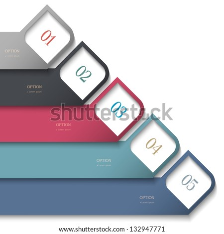 3d numbered banners. Vector design template - stock vector