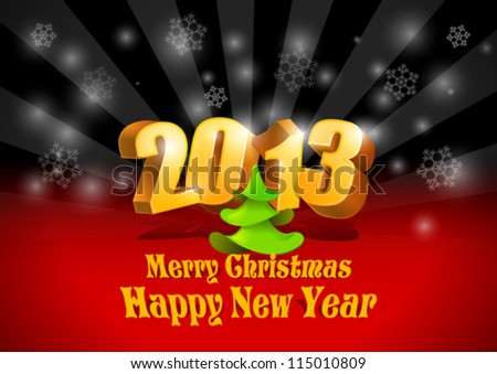 2013 3D numbers. Happy New Year card template. Merry Christmas Cover. Vector. Editable. - stock vector