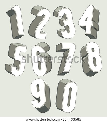 3d numbers set, monochrome numerals for advertising and web design. - stock vector