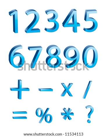 3D numeric digits - stock vector
