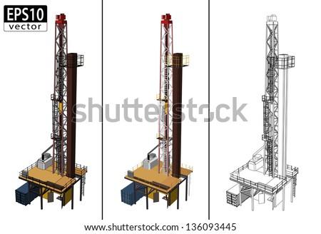 3D Oil Drill | EPS10 Vector - stock vector