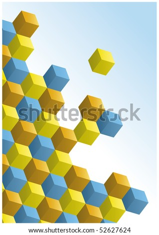 3d op-art cube design background - stock vector