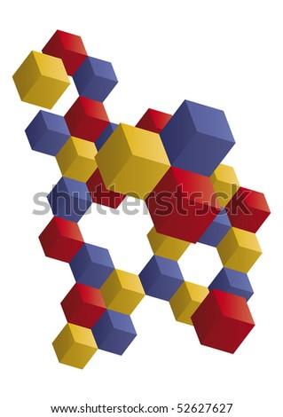 3d op-art cube design background - stock vector