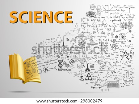 3D open book with Science doodles flying into the book. - stock vector
