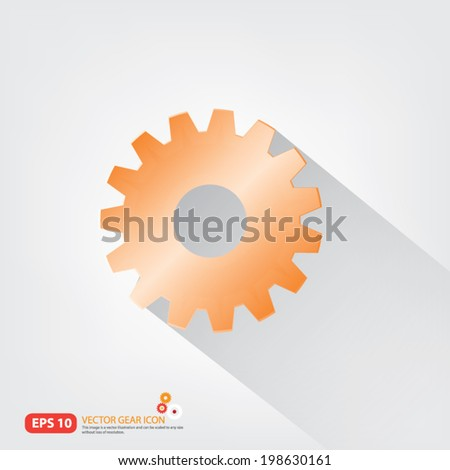 3D Orange Gear or cog set with shadow on white background