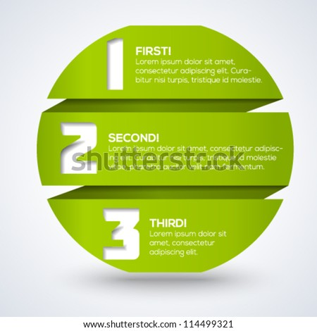 3d origami round progress template with numbers and place for your text. Vector illustration. - stock vector