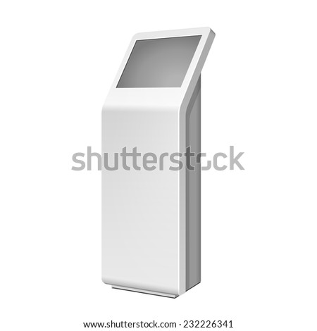 3D Outdoor White Metal Advertising Stand On White Background. Illustration Isolated On White Background. Vector EPS10  - stock vector
