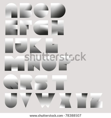 3d paper cut font from A to Z - stock vector