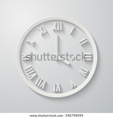 3D paper flat clock icon with shadow. Dial with Roman numerals. Vector illustration for your design - stock vector