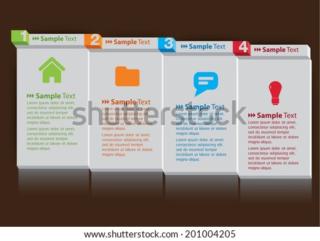 3D paper note tex box for website. icon. - stock vector
