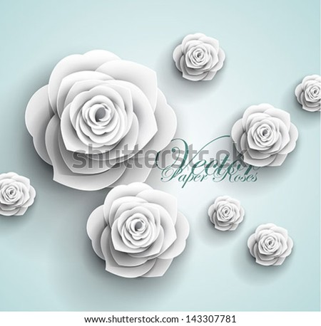 3d paper rose flowers - vector abstract background - stock vector